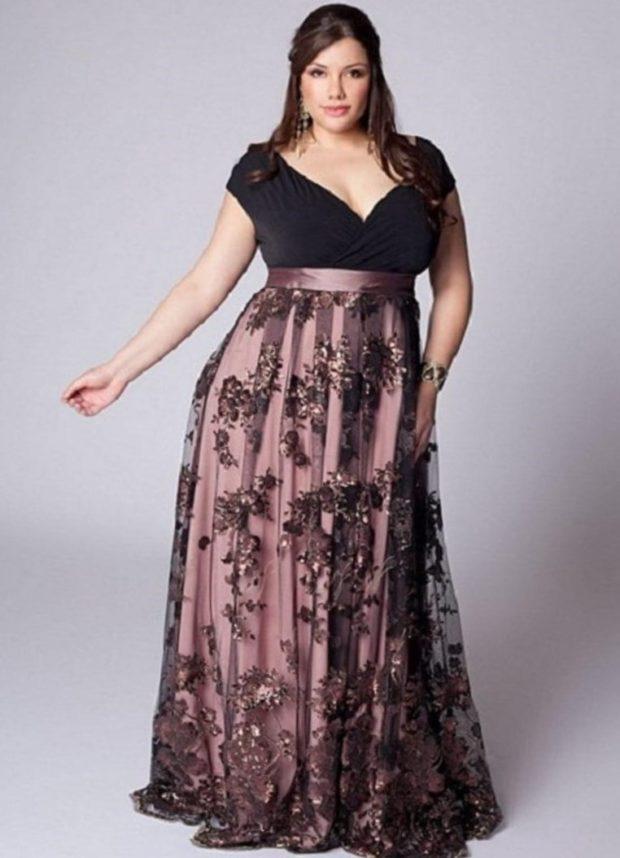 платье для полных девушек: в принт длина в макси