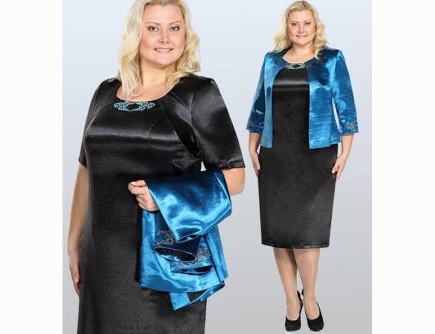 платье для полных девушек: нарядное черного цвета