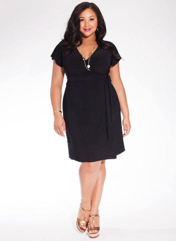 платье для полных девушек: черное v-образным вырезом