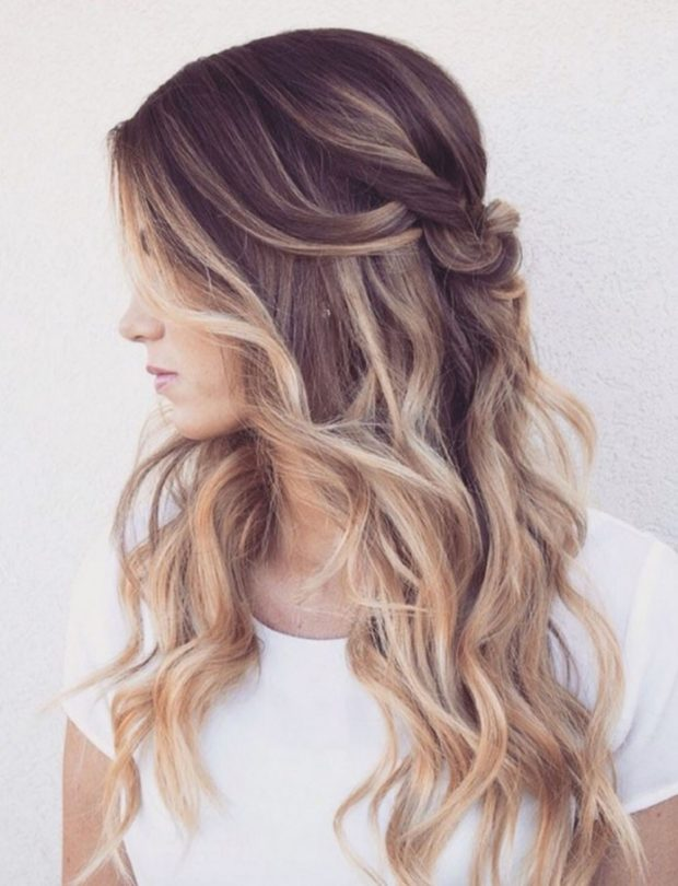 шатуш на длинные волосы: вид сбоку