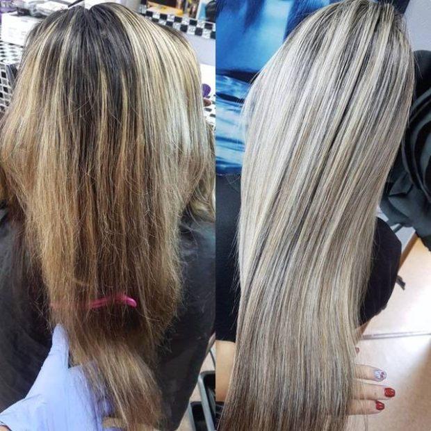 шатуш на длинный волос вид сзади