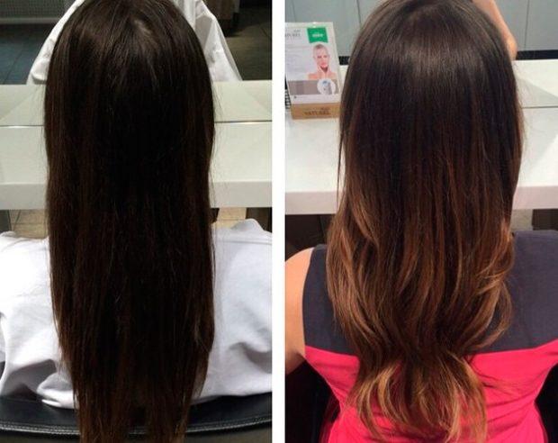 шатуш на темный длинный волос