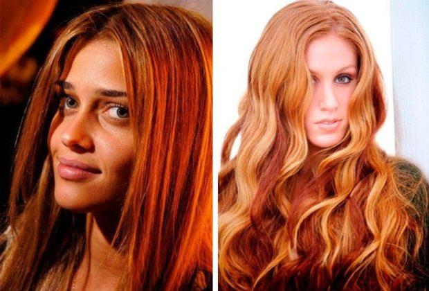 шатуш на рыжие волосы длинные