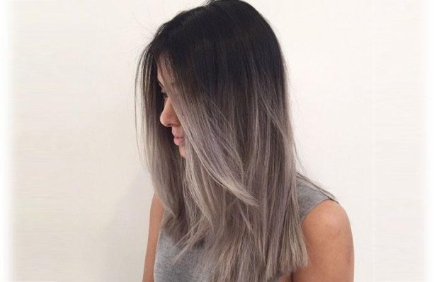 шатуш пепельного цвета на длинный волос
