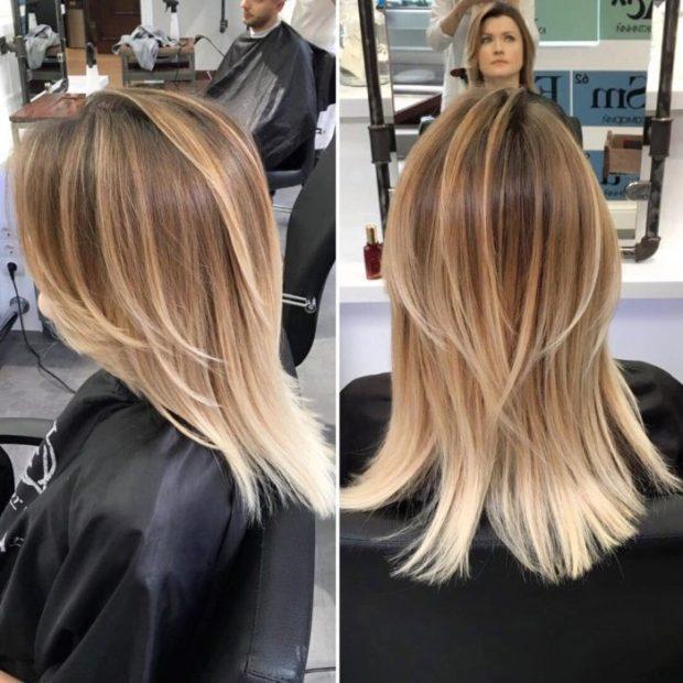 шатуш на прямые волосы вид сзади