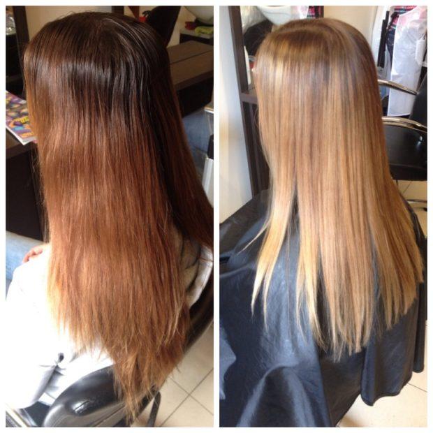 шатуш на прямые длинные волосы