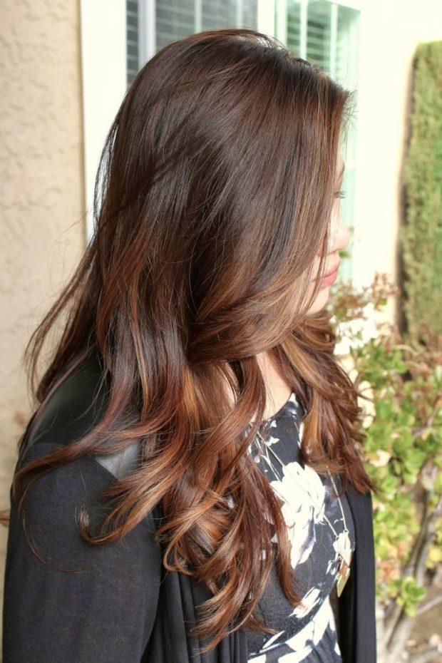 шатуш на прямые волосы: вид с боку