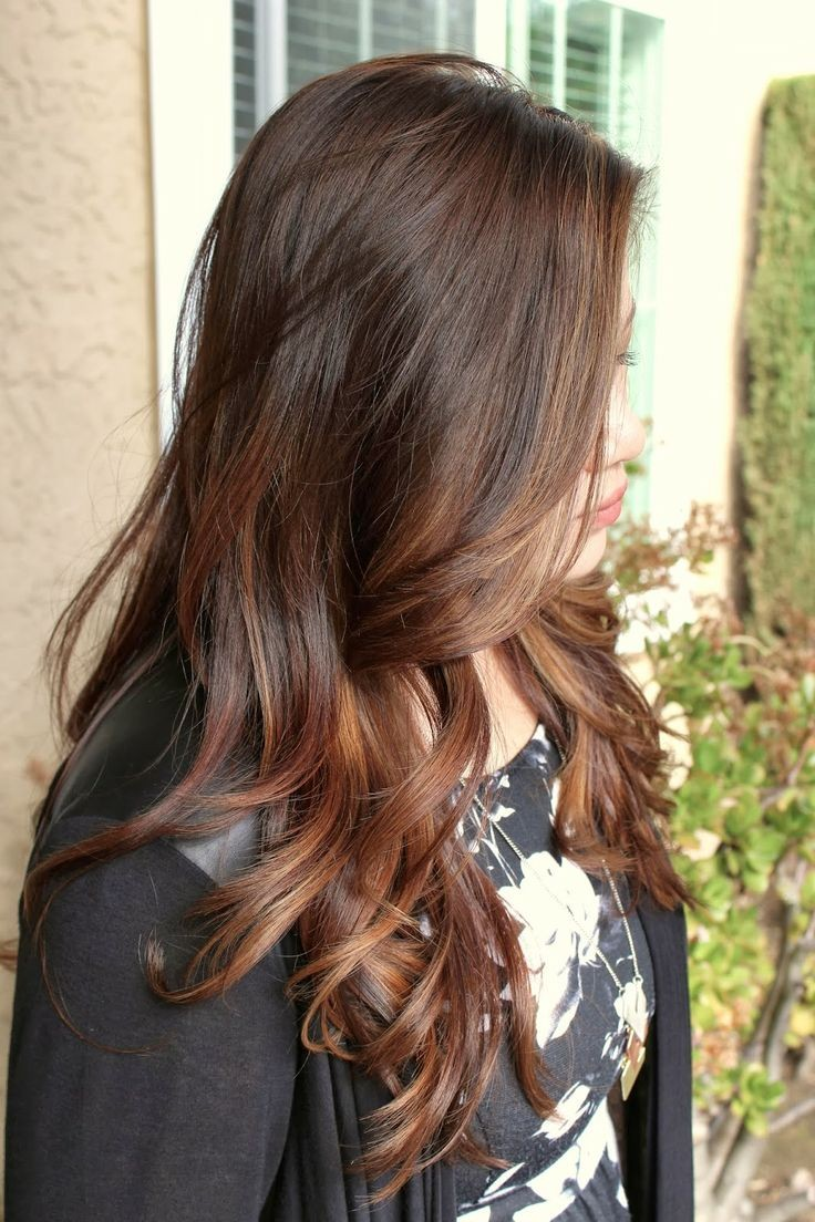 шатуш на прямые волосы вид с боку