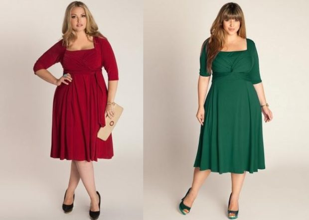 платье красное рукав 3/4 зеленое по колено с коротким рукавом