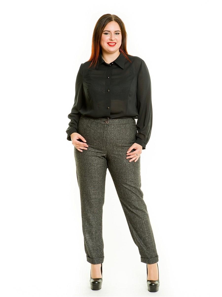серые брюки с высокой талией