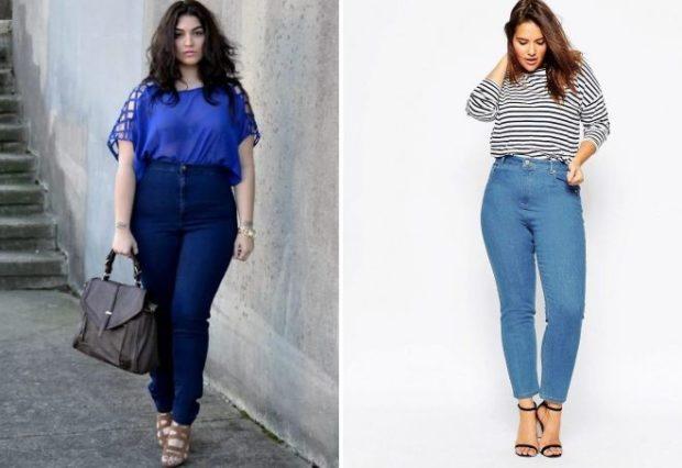 синие голубые джинсы с высокой талией