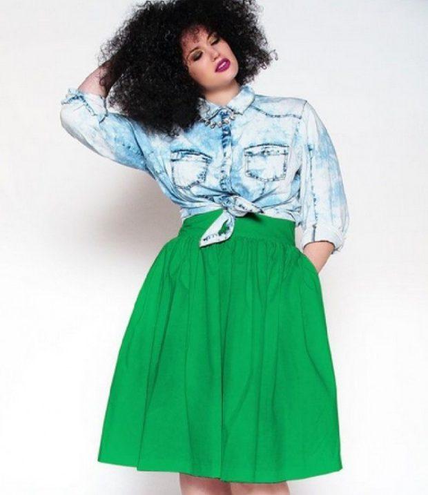 юбка а-силуэт зеленая с карманами