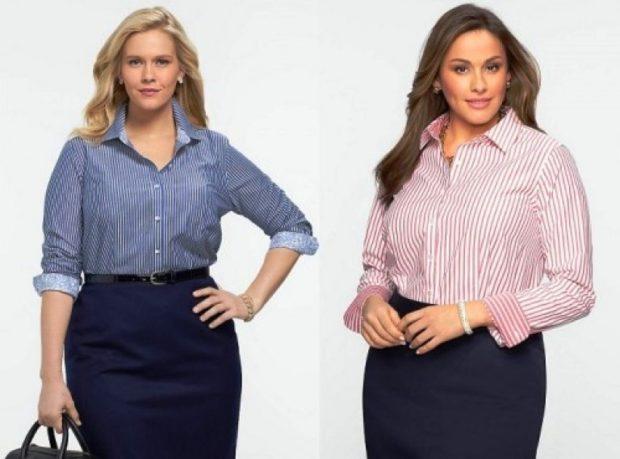 офисный стиль синяя юбка под рубашку в полоску синюю красную