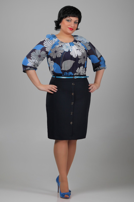 черная юбка под блузку в цветы