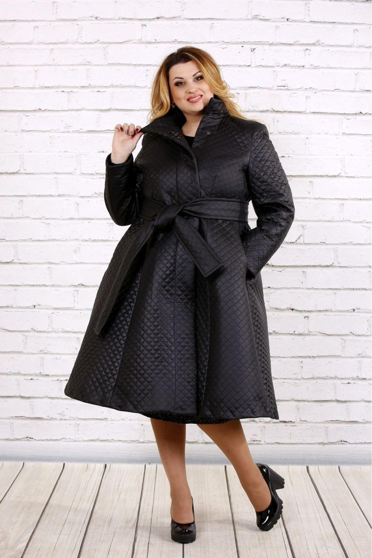 пальто стеганое под пояс