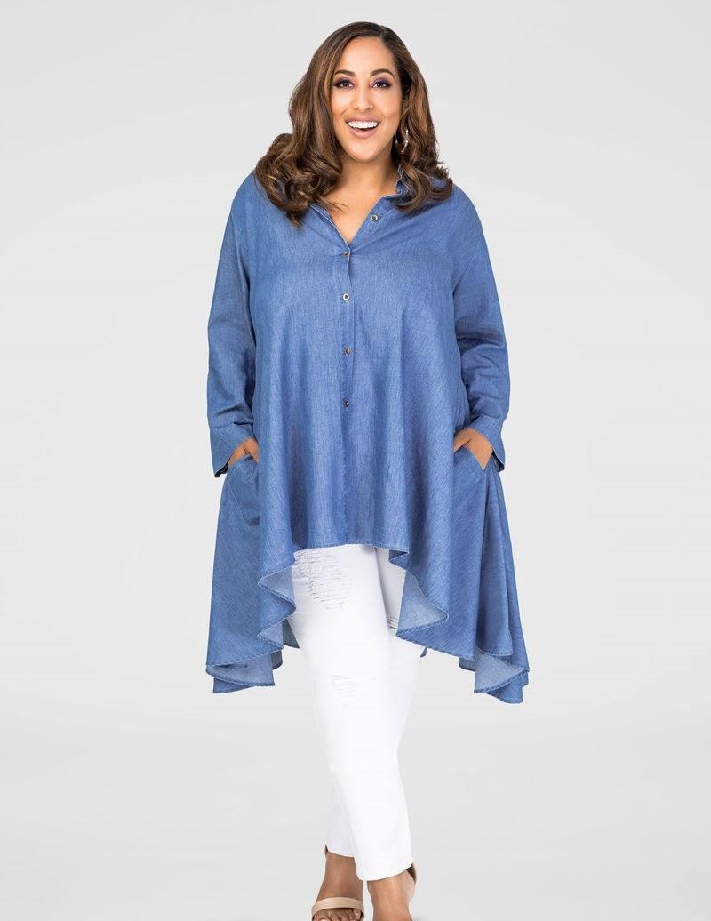 синяя туника асимметрия под белые брюки