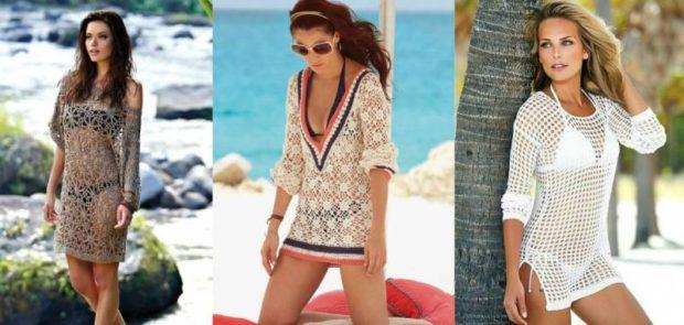 туники для пляжа ажурные коричневая белая