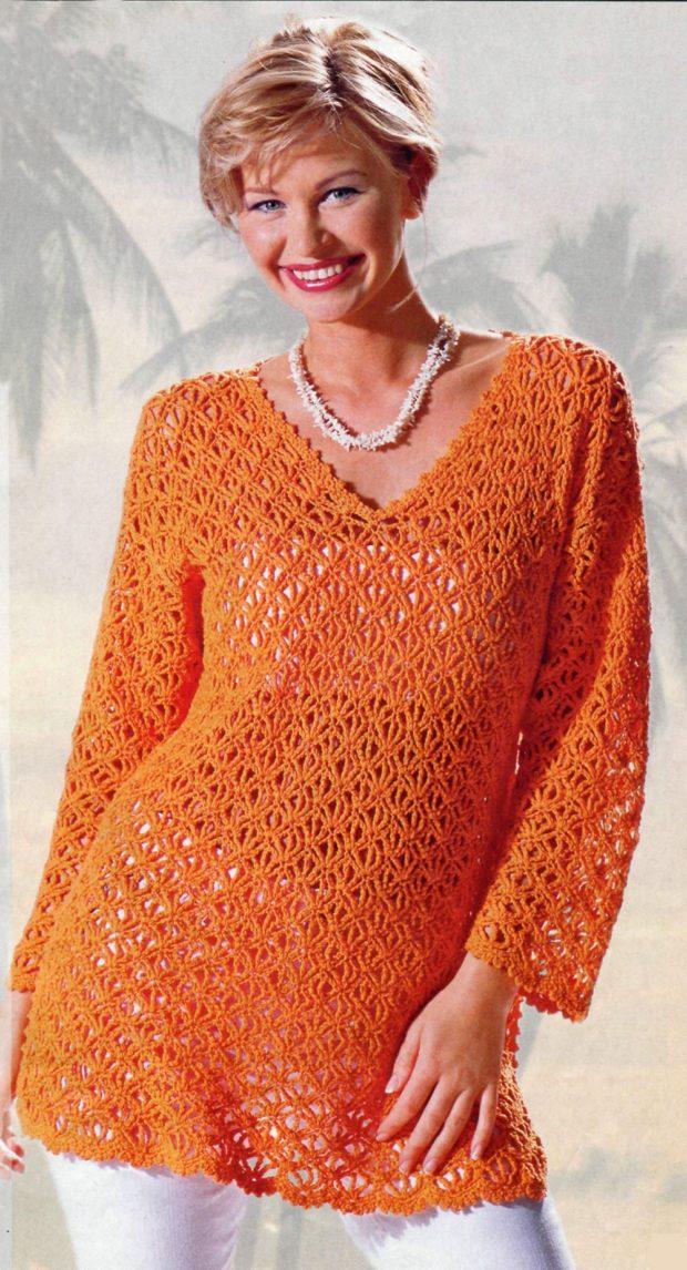 туника вязаная оранжевая с длинным рукавом