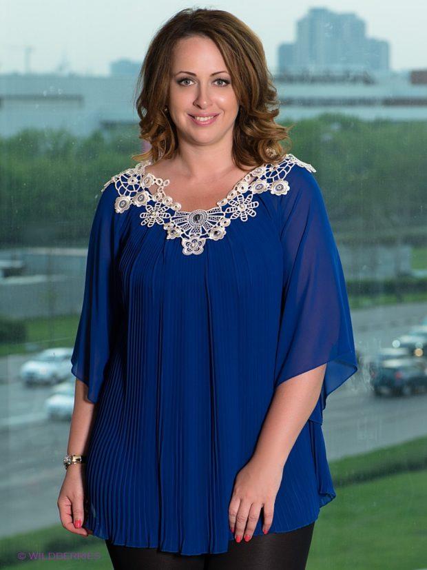 синяя блузка туника