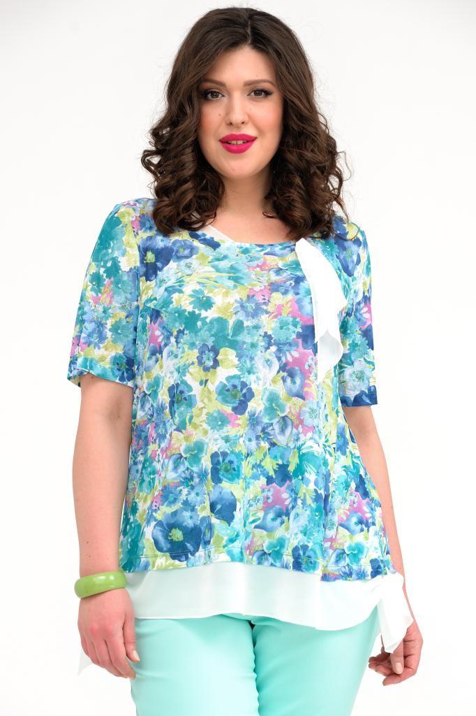 блузка-туника голубая в цветы