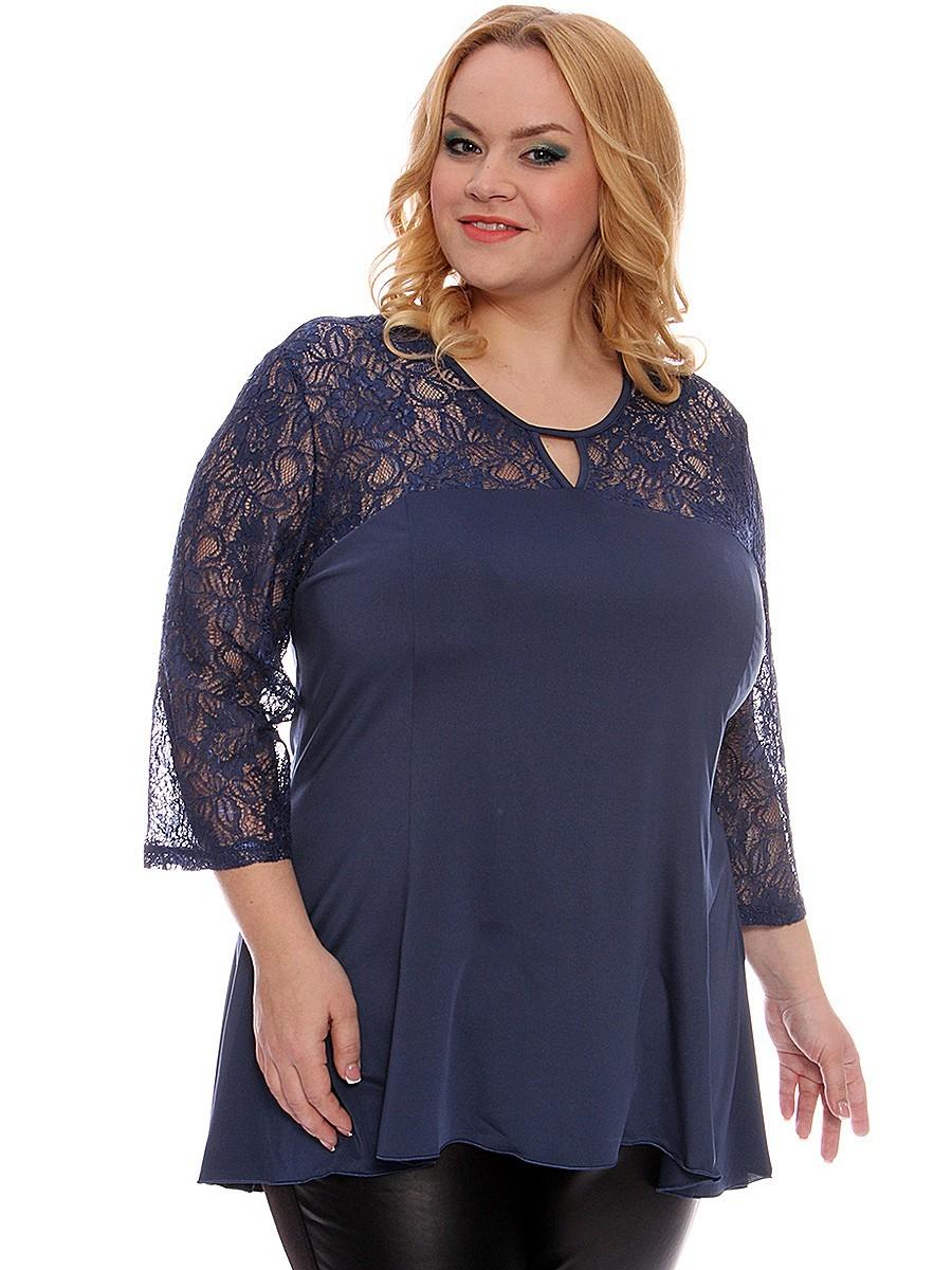 блузка-туника синяя с ажурными рукавами