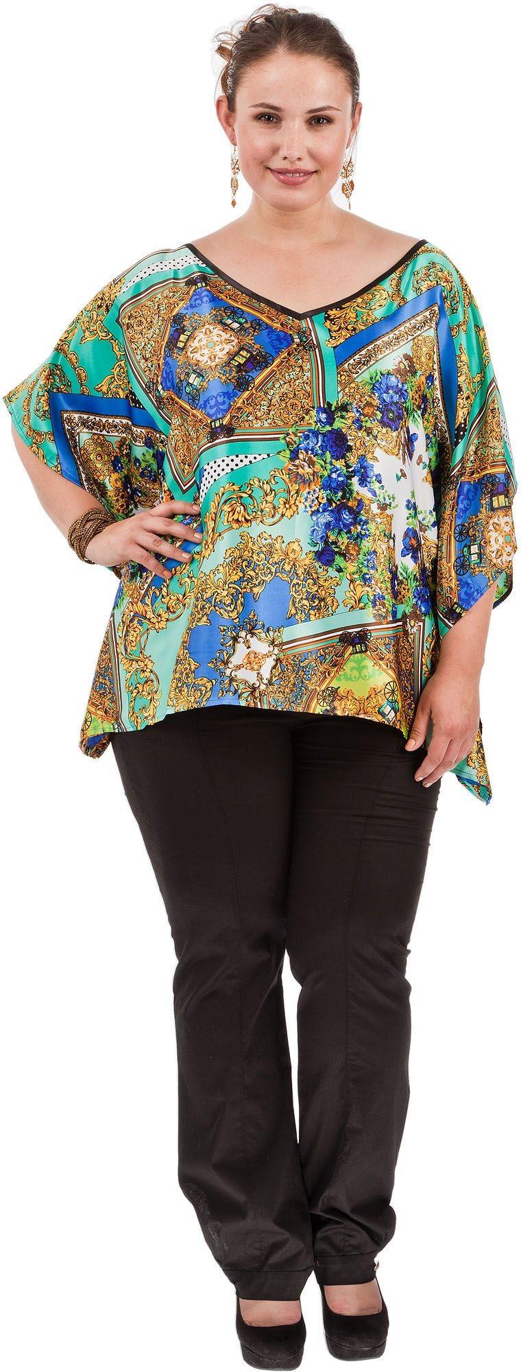 блузка-туника шелковая яркая в принт