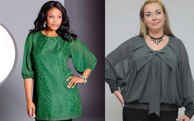 блузка-туника зеленая серая