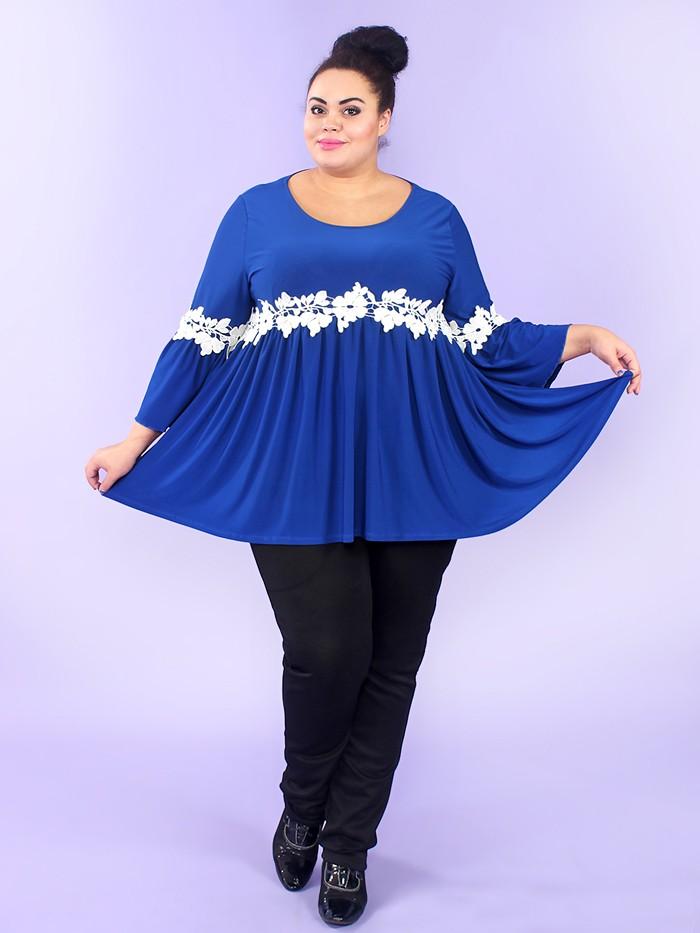 блузка-туника синяя с белыми цветами