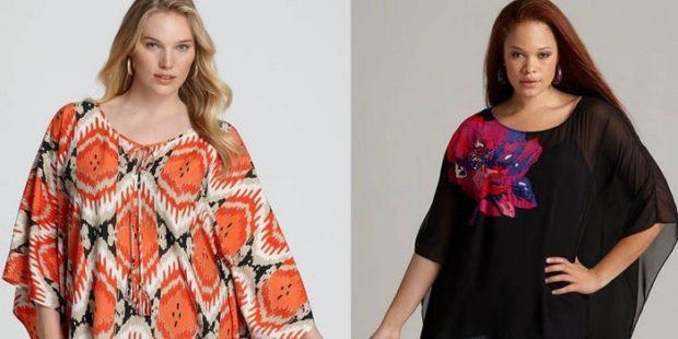 блузка-туника оранжевая в принт черная с цветком
