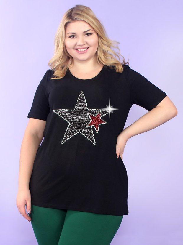 туника футболка черная со звездой