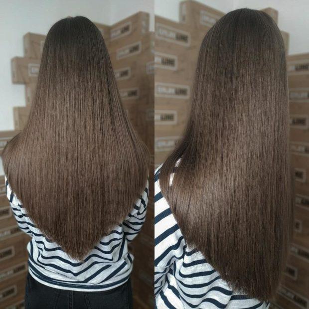стрижки на длинные волосы 2020: брюнетка плавный переход