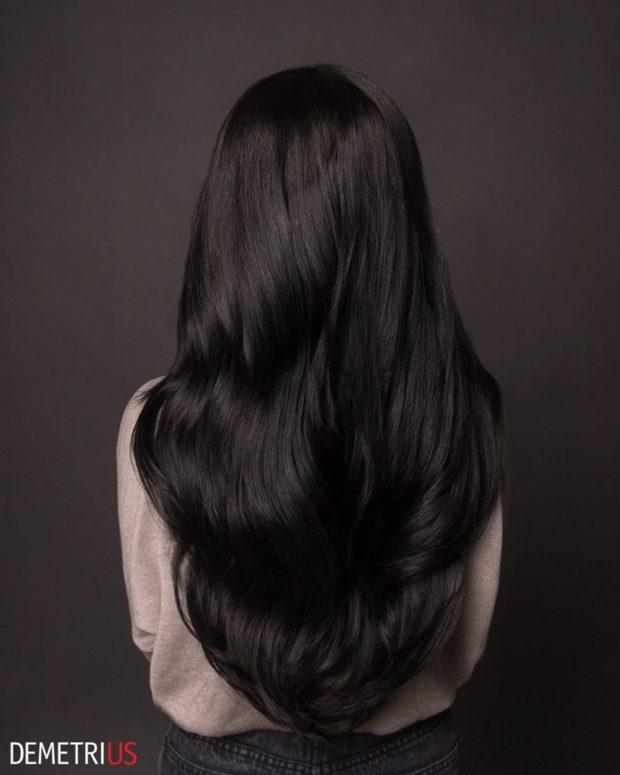 стрижки на длинные волосы 2019-2020: черные волосы