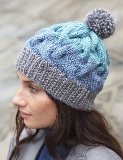 шапки вязаные женские осень зима 2018 2019: с объемными косами
