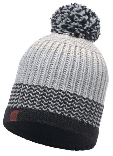 вязаные шапки 2018 2019: с флисом серая