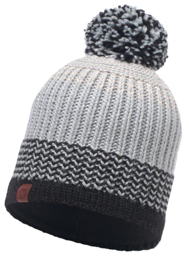 модные вязаные шапки: с флисом серая