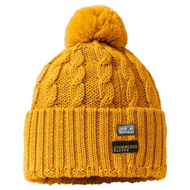 модные вязаные шапки: с флисом желтая