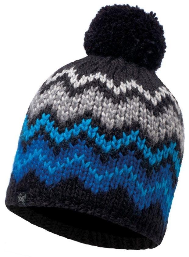 модные вязаные шапки: с флисом елочка помпон