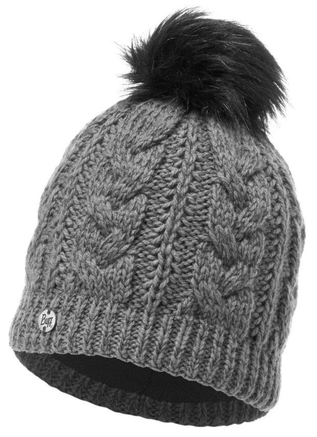 модные вязаные шапки: с флисом серая помпон черный