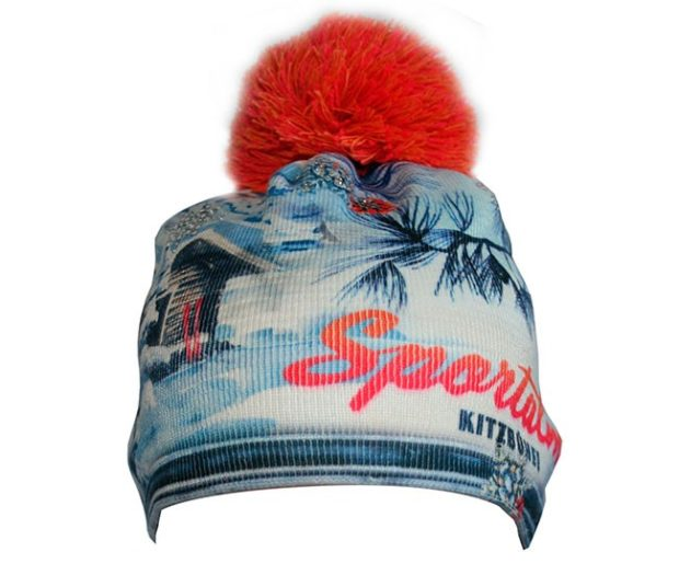 модные вязаные шапки: женские зима с рисунком красный помпон