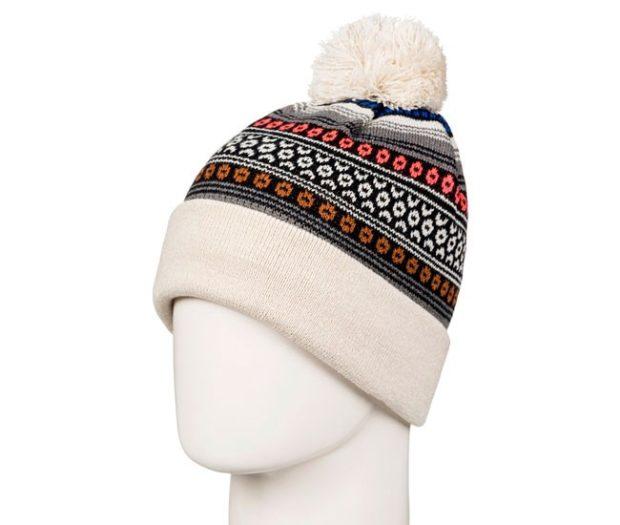 модные вязаные шапки: с рисунками белый помпон