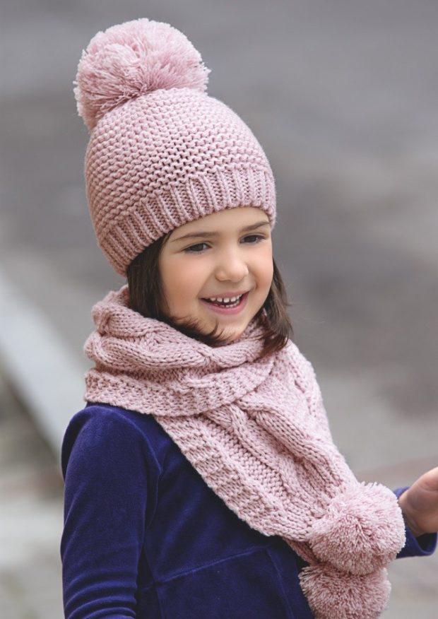 вязаная шапка: для девочек розовая