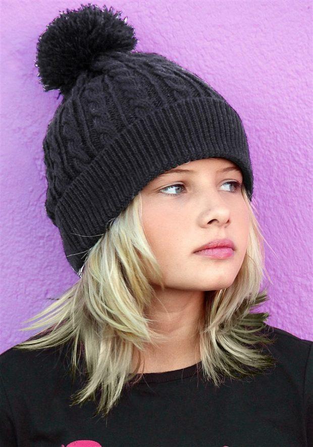 вязаная шапка: для девочек черная