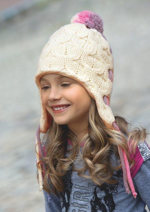 вязаная шапка: для девочек помпон фиолетовый