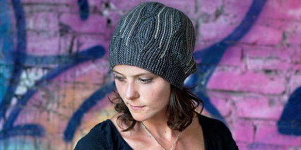 шапки вязаные женские осень зима: поперек серая