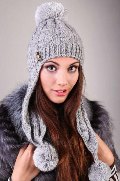 шапки вязаные женские осень зима 2018 2019: ушанка серая
