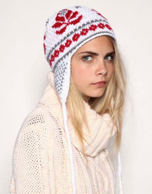 шапки вязаные женские осень зима 2018 2019: ушанка с узором
