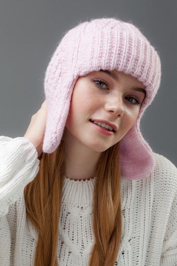ушанка розовая