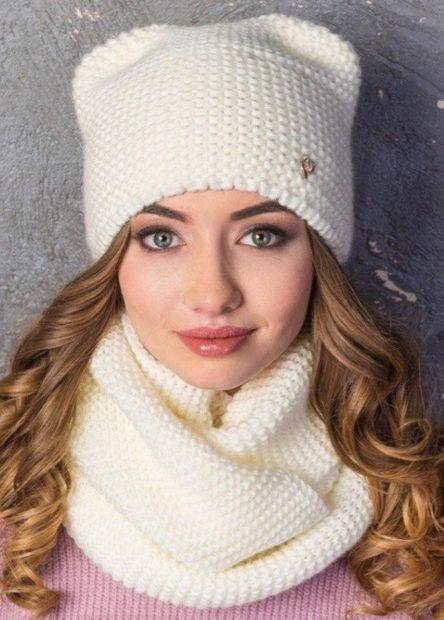 шапки вязаные женские осень зима 2018 2019: с ушками белая