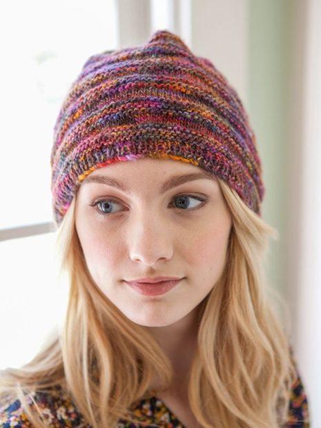 шапки вязаные женские осень зима 2018 2019: меланжевая разноцветная