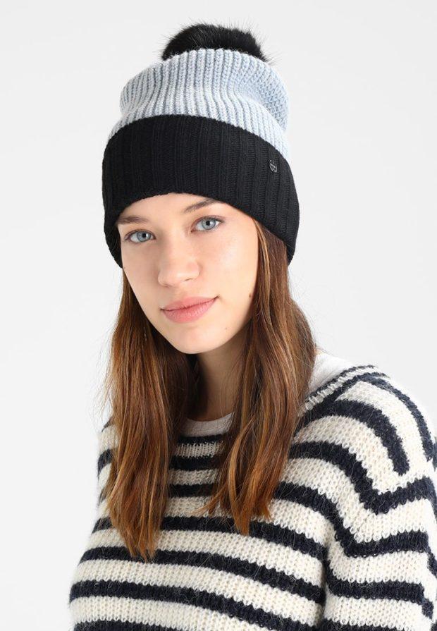 модные вязаные шапки осень-зима 2019-2020: черно-серая